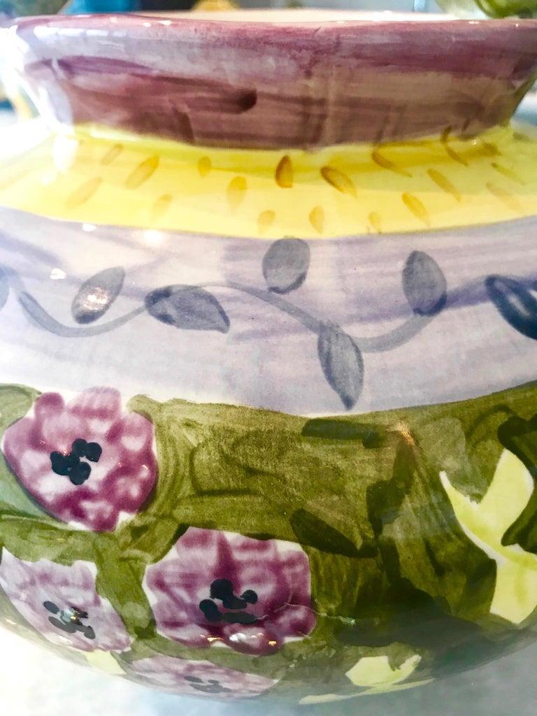 Impressionist Hand Painted Ceramic Urn Vase, Italy  For Sale 1