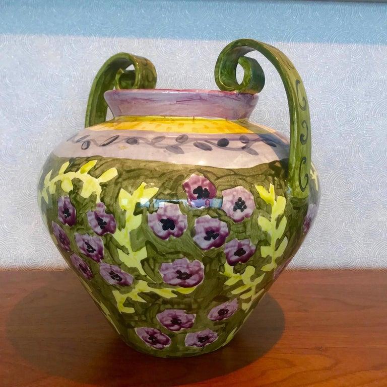 Impressionist Hand Painted Ceramic Urn Vase, Italy  For Sale 2