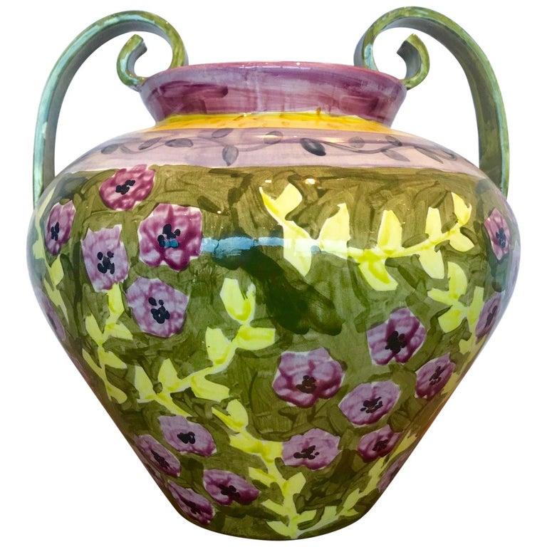 Impressionist Hand Painted Ceramic Urn Vase, Italy  For Sale