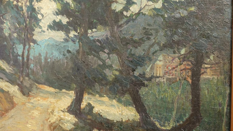 Impressionistic landscape painting, oil on canvas, mounted in a wood and parcel gilt frame. Signed lower right Shreve, and dated 1923. Possibly Catherine Shock Shreve, (1900-2000).