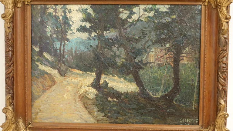 Hand-Painted Impressionist Landscape Painting, Signed Shreve 1923 For Sale