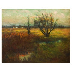 """Penn, Impressionist Landscape Painting """"Evening Pasture"""" by Frederick Wagner"""