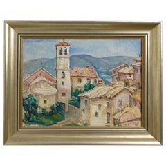 Impressionist Mission Scene Cityscape Painting, California Artist Rinaldo Cuneo