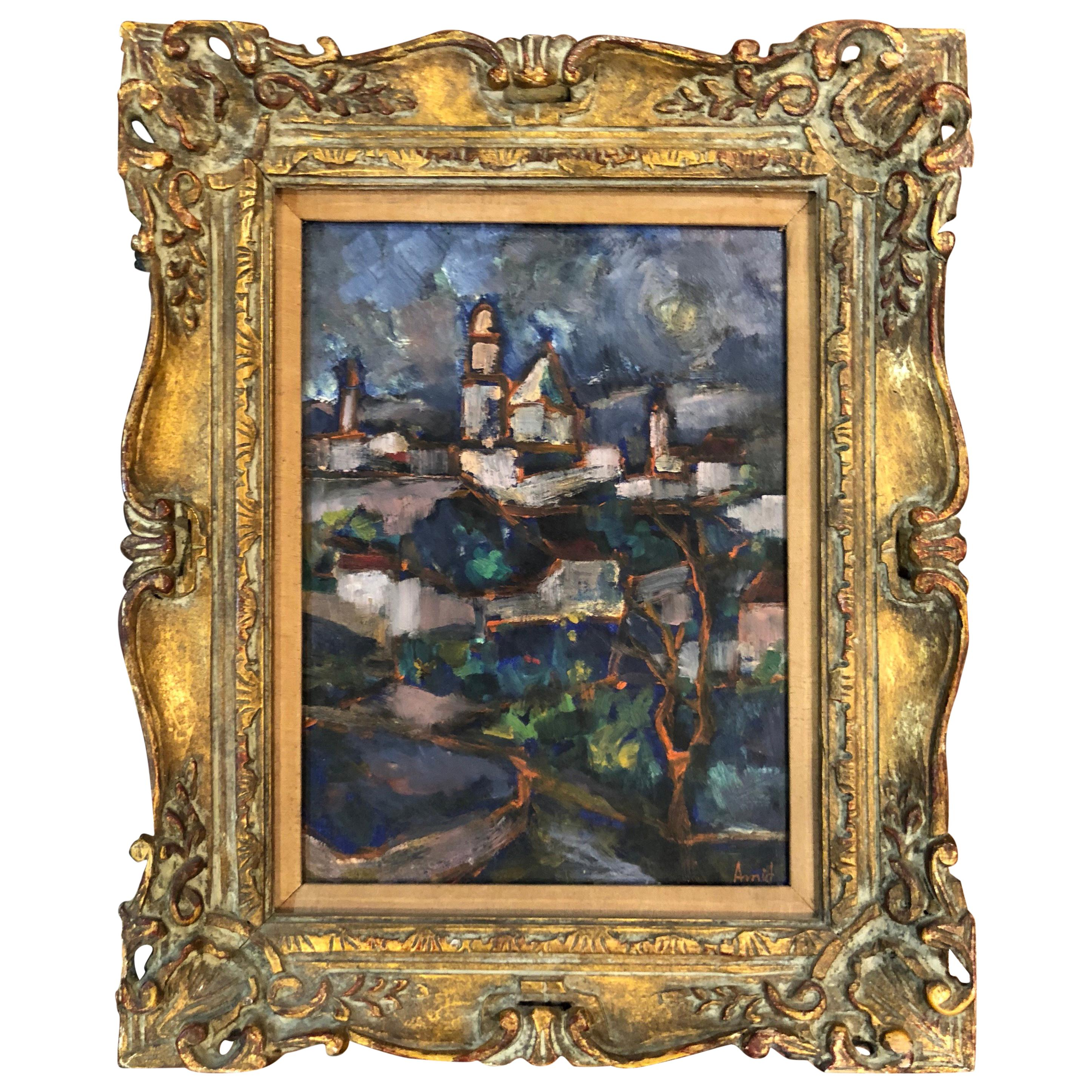 Impressionist Oil on Board by Asher Amid