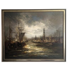 Impressionist Oil on Canvas Painting by John Bevort, Harbor Scene