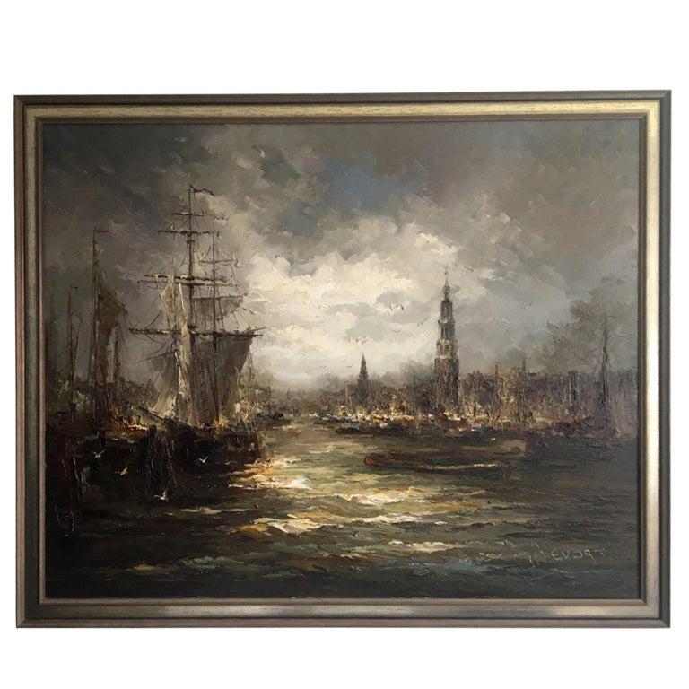 Impressionist Oil on Canvas Painting by John Bevort, Harbor Scene For Sale