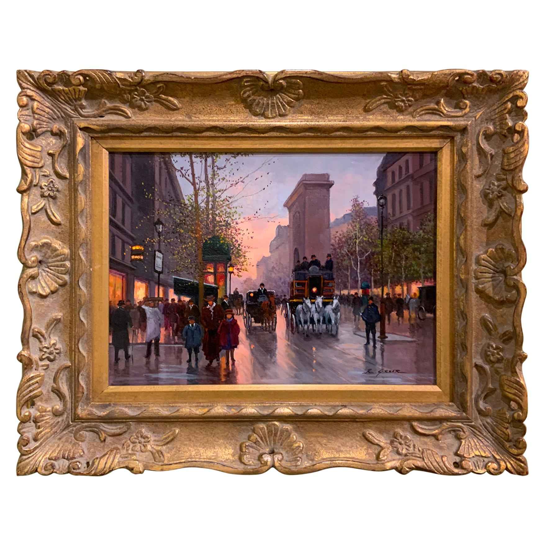 Impressionist oil painting by Ruth Greer of Paris street scene