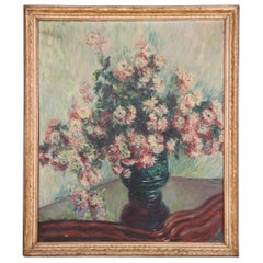 Impressionist Oil Painting of a Vase of Flowers, circa 1940