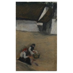 Impressionist Oil Painting on Board, Rustic Figures in a Farmyard