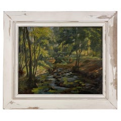 Impressionist Oil Painting on Canvas in Rustic Distressed Painted Frame by Josep