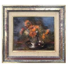 """Impressionist Painting by Auguste Boulard """"Vase De Fleurs"""", circa 1900"""