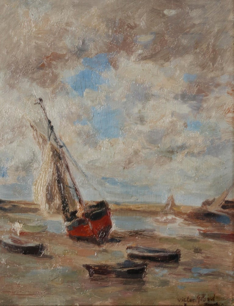 Romantic Impressionist Painting by Victor Gilsoul, Flemish School circa 1900 For Sale
