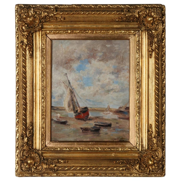 Impressionist Painting by Victor Gilsoul, Flemish School circa 1900 For Sale