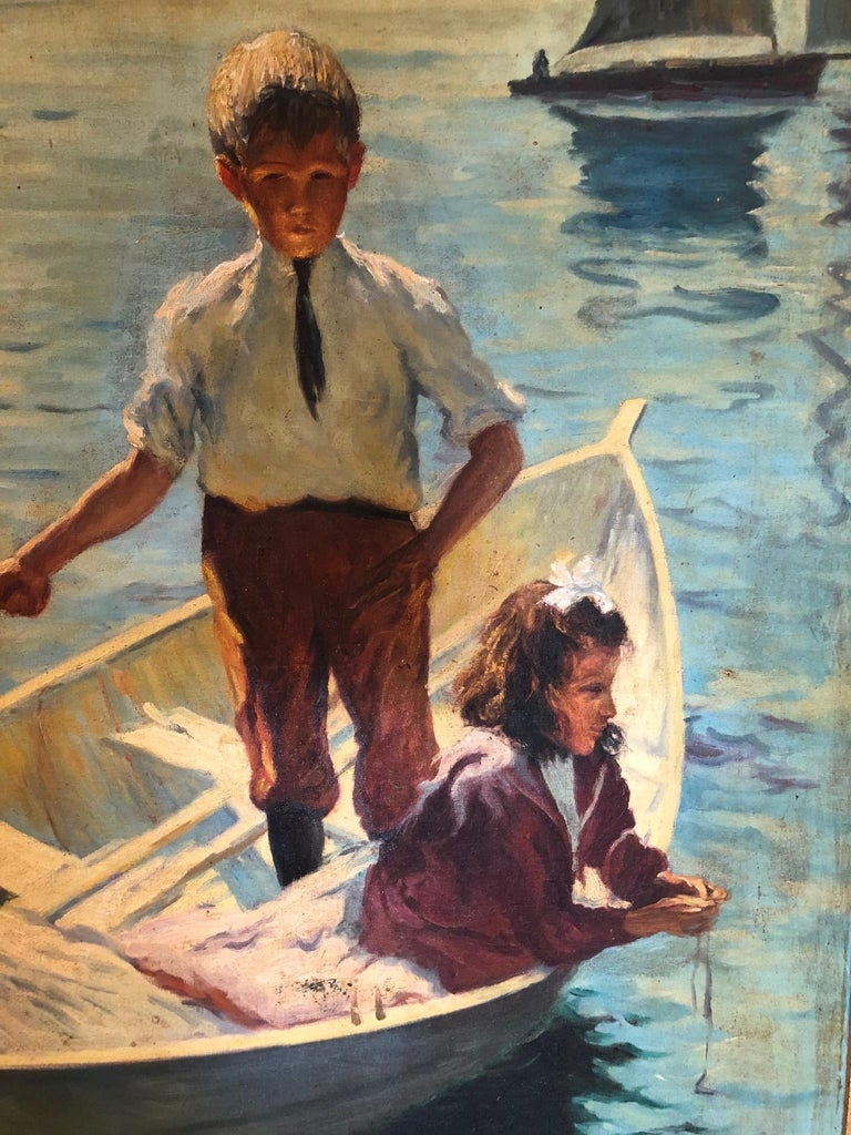 Impressionist Painting Calm Morning in the Style of Frank Weston Benson In Excellent Condition For Sale In Hopewell, NJ