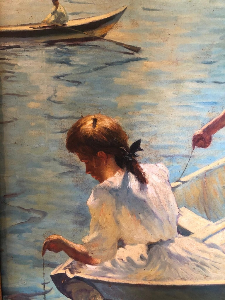 Early 20th Century Impressionist Painting Calm Morning in the Style of Frank Weston Benson For Sale