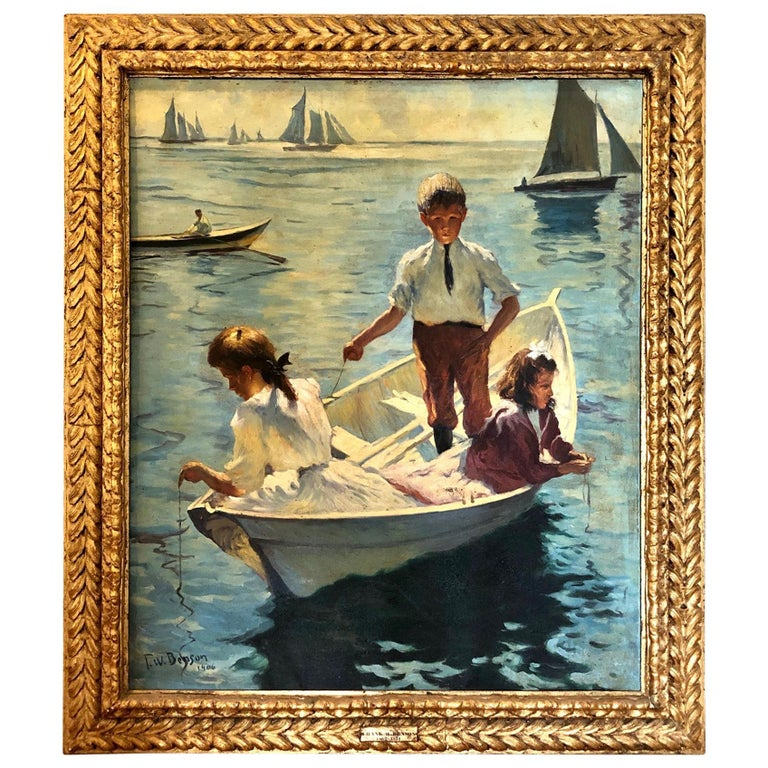 Impressionist Painting Calm Morning in the Style of Frank Weston Benson For Sale