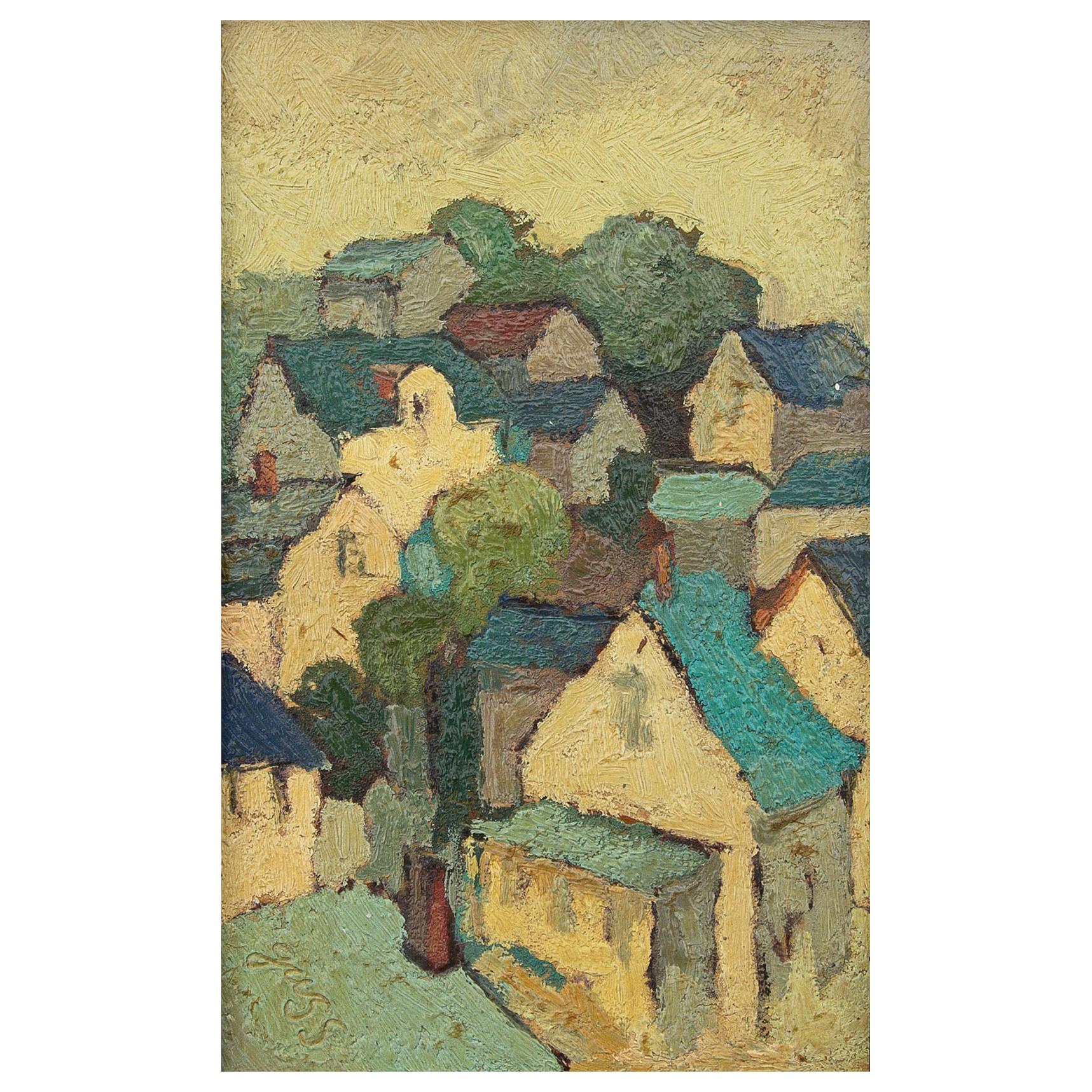 Impressionist Painting French Village by Edna Gass