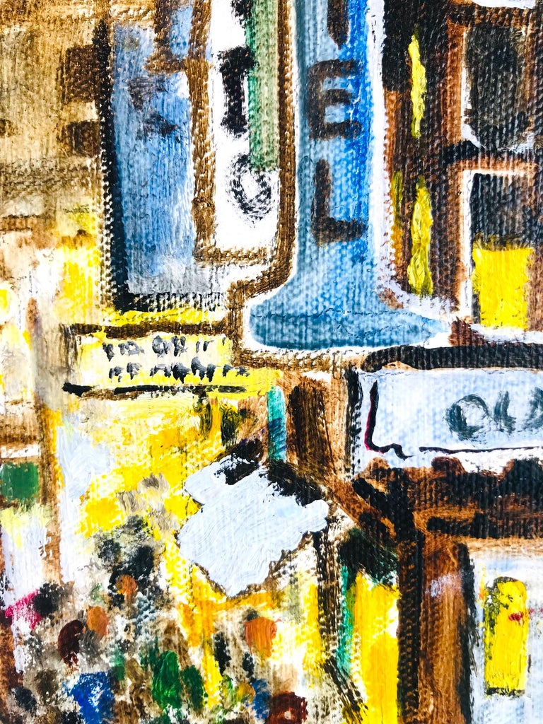 Impressionist Painting of 1950s New York City at 42nd Street, Oil on Canvas For Sale 2