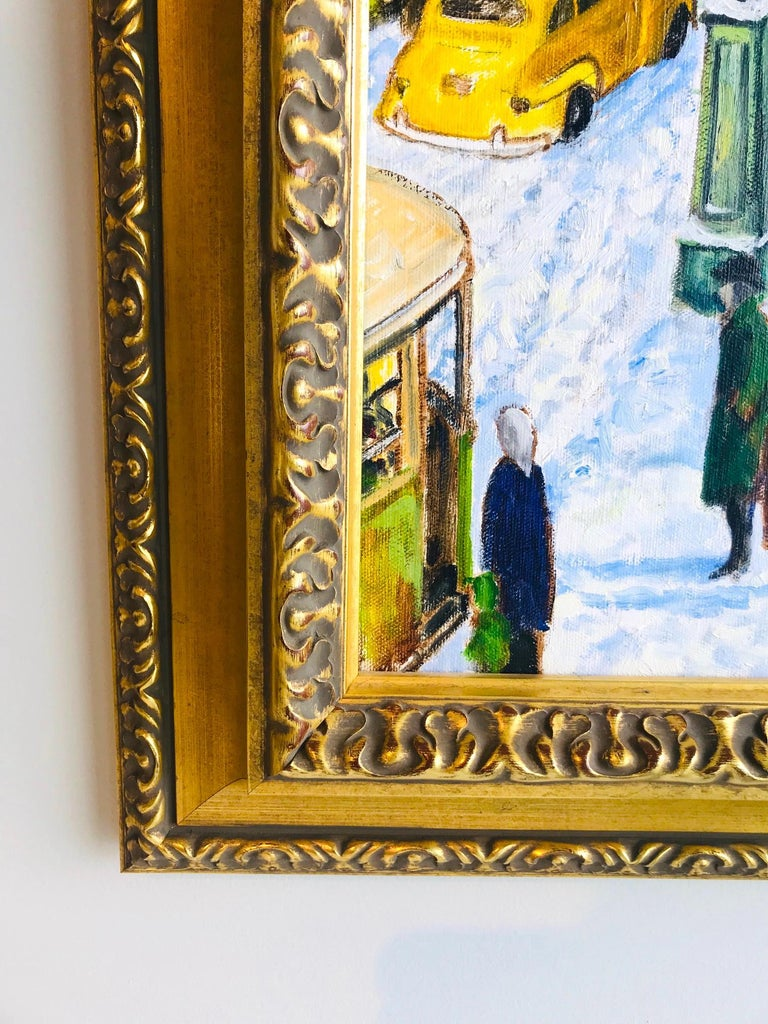 Impressionist Painting of 1950s New York City at 42nd Street, Oil on Canvas For Sale 4