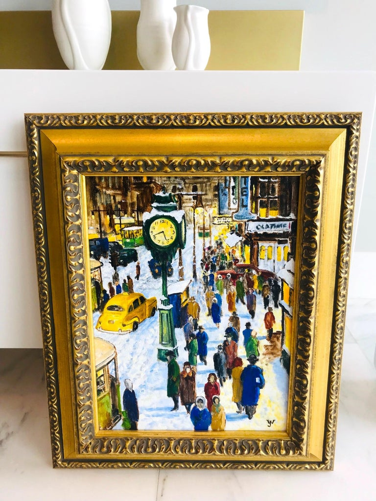 Impressionist Painting of 1950s New York City at 42nd Street, Oil on Canvas For Sale 5