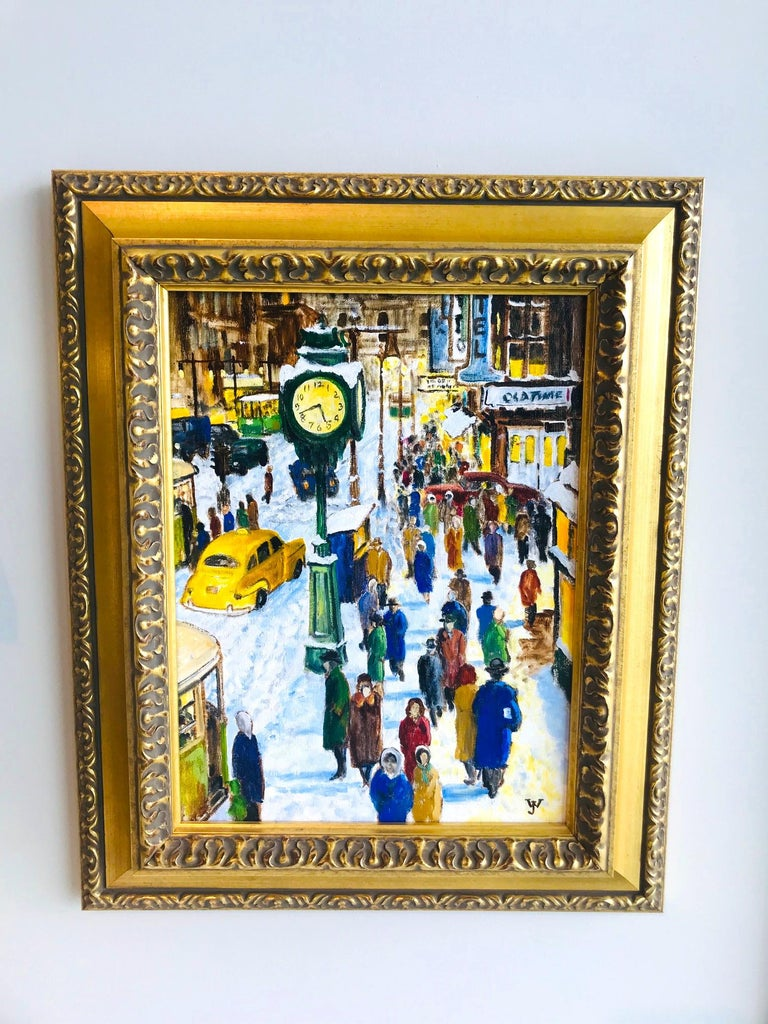 Impressionist cityscape painting of a nostalgic New York City, most likely from the 1950s. The painting features random city life on a snow filled 42nd Street with traffic and pedestrians. The artist uses an array of vibrant colors as seen on the