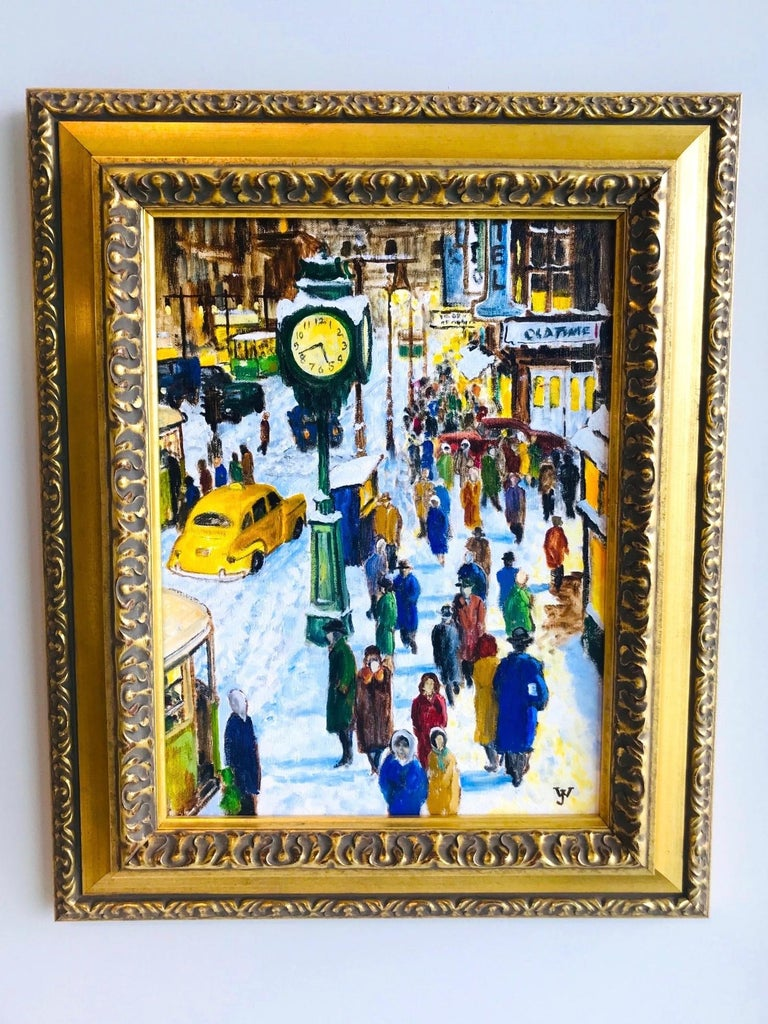 Post-Modern Impressionist Painting of 1950s New York City at 42nd Street, Oil on Canvas For Sale