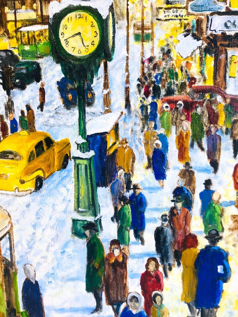 Gilt Impressionist Painting of 1950s New York City at 42nd Street, Oil on Canvas For Sale
