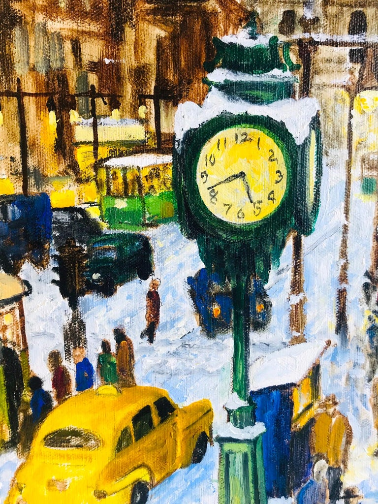 Impressionist Painting of 1950s New York City at 42nd Street, Oil on Canvas In Excellent Condition For Sale In Miami, FL