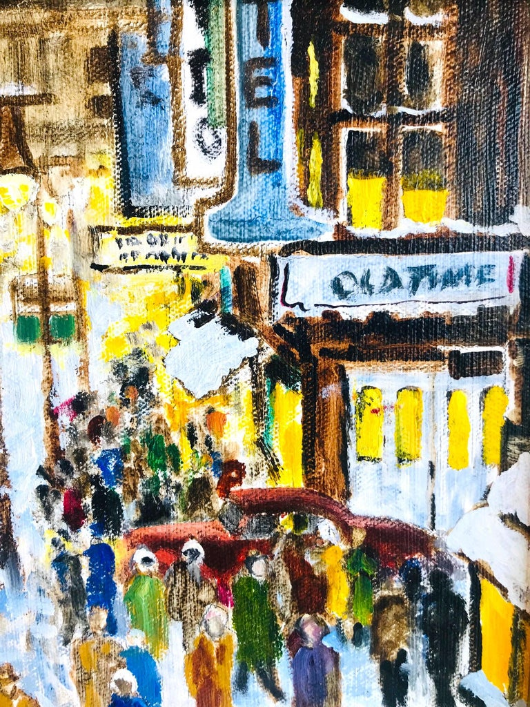 20th Century Impressionist Painting of 1950s New York City at 42nd Street, Oil on Canvas For Sale