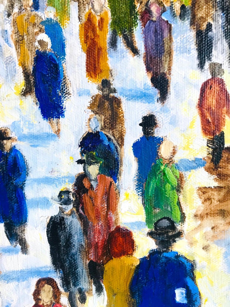 Wood Impressionist Painting of 1950s New York City at 42nd Street, Oil on Canvas For Sale