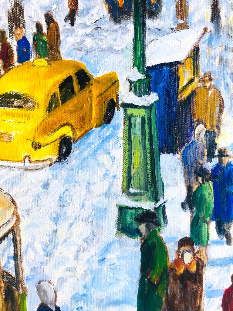 Impressionist Painting of 1950s New York City at 42nd Street, Oil on Canvas For Sale 1