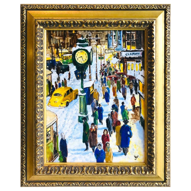 Impressionist Painting of 1950s New York City at 42nd Street, Oil on Canvas For Sale