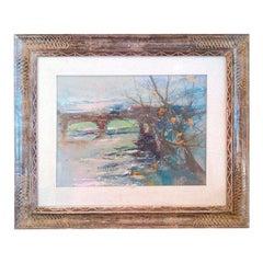 Impressionist Painting of a Bridge Scene