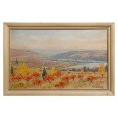 Impressionist Painting of Cayuga Lake, New York, Oil on Board Landscape by Baker