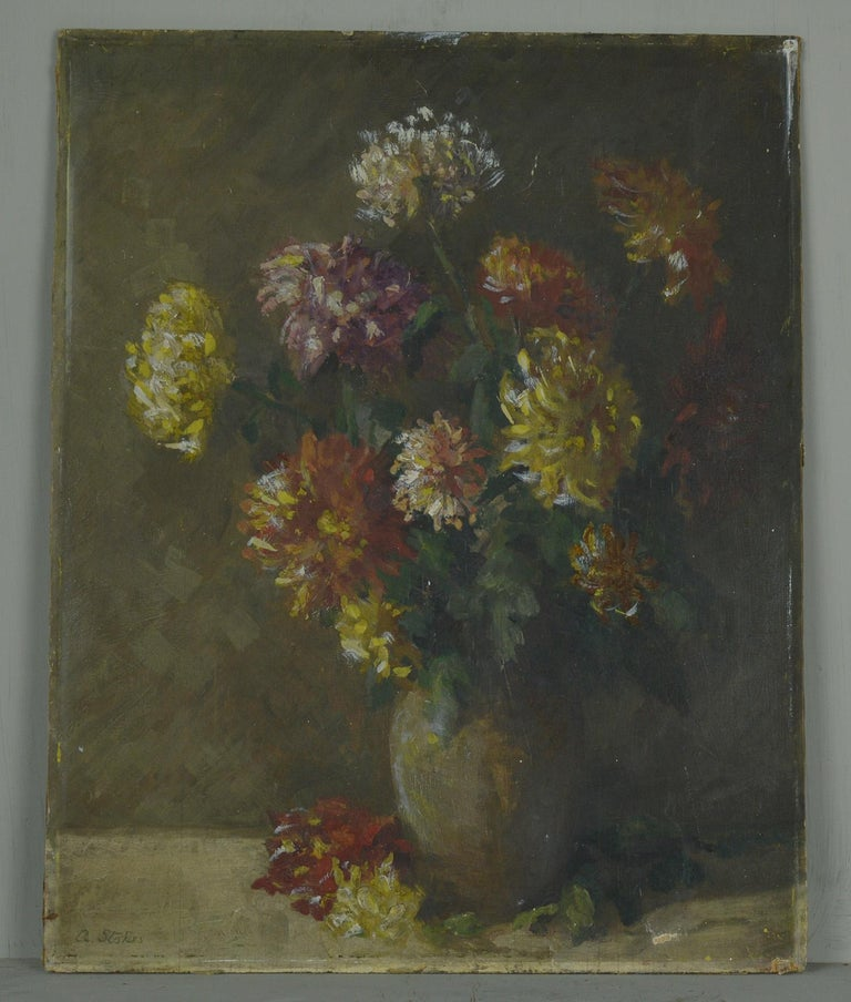 Wonderful painting of chrysanthemums in delightful muted colors.  Oil on board. Unframed. Signed lower left.  Painted in high relief particularly the flowers.  It has been taken out of a frame so the edge is slightly distressed.  Tiny