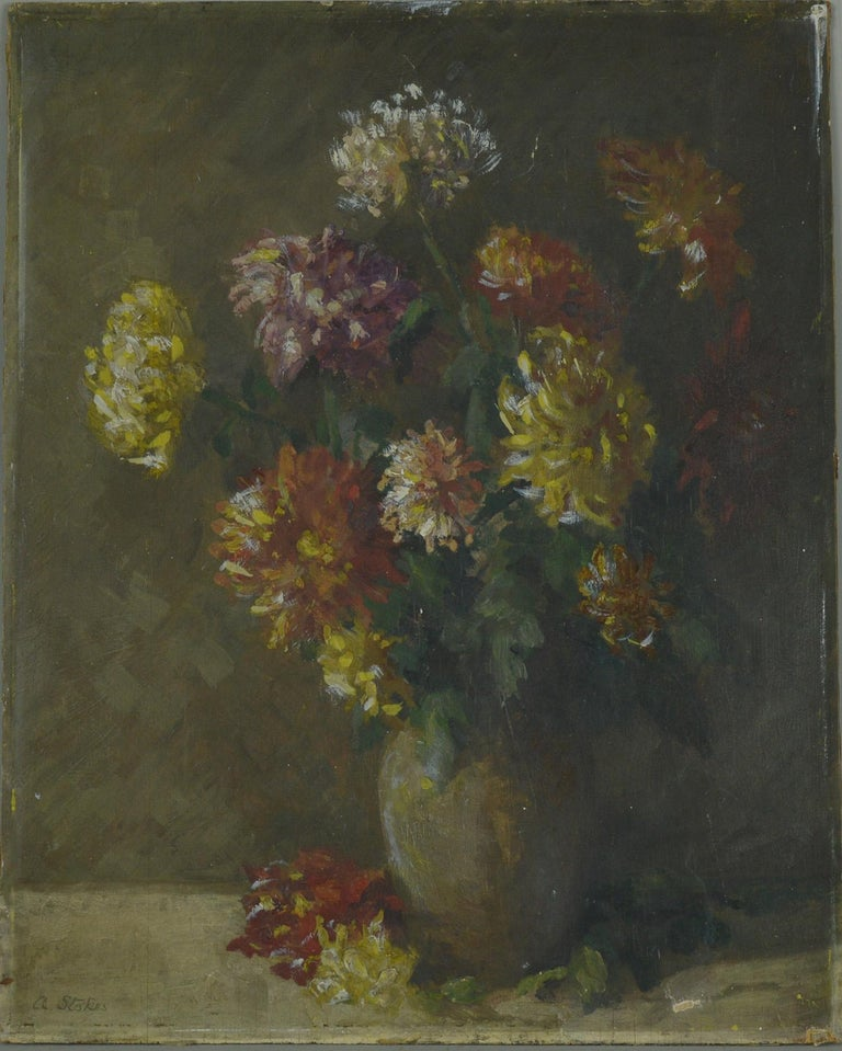 French Provincial Impressionist Painting of Flowers, Amelia Stokes, circa 1920
