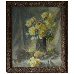 Impressionist Painting of Yellow Roses by C. Dore, French, circa 1870