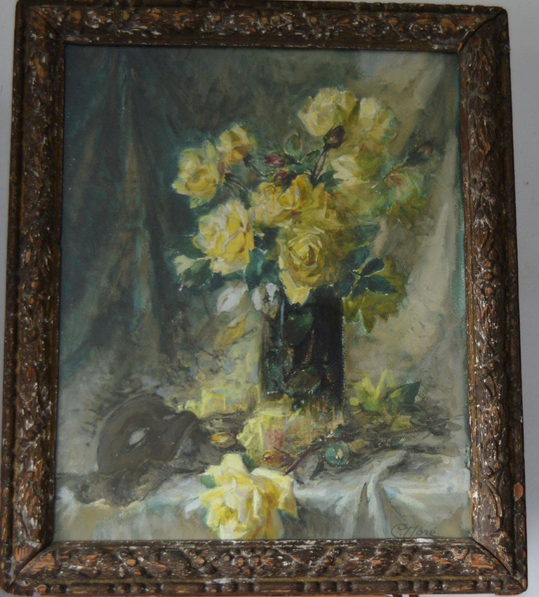 Fabulous painting or drawing of yellow roses.  Signed C.Dore bottom right.  Water color on paper  Presented in a distressed 18th century giltwood frame  The measurement given below is the frame size.