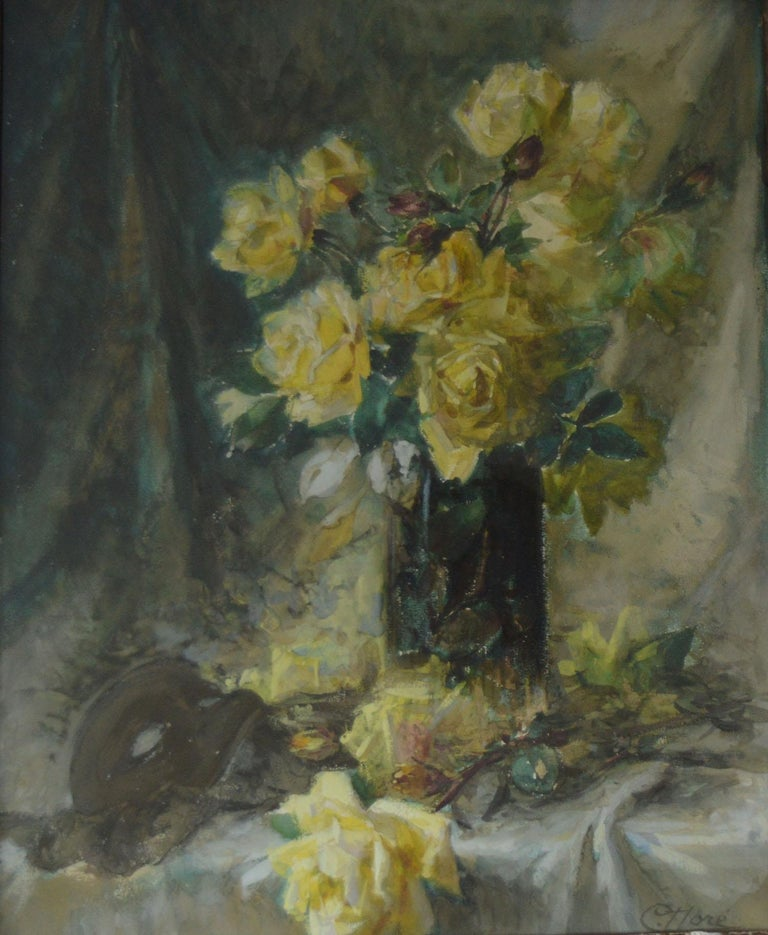 French Provincial Impressionist Painting of Yellow Roses by C. Dore, French, circa 1870