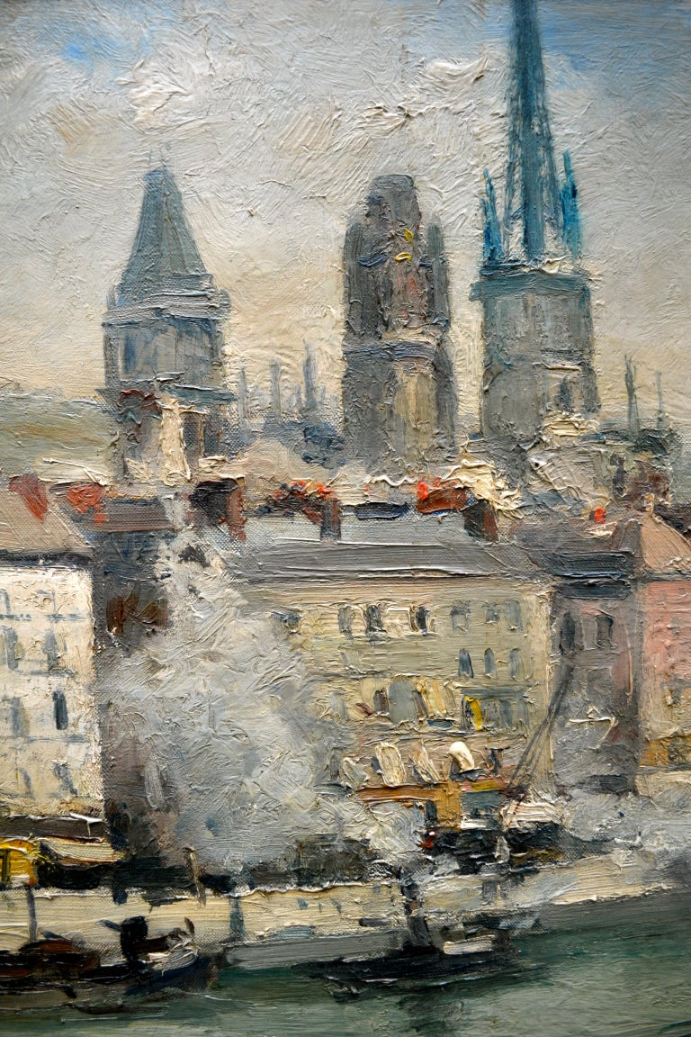 """Art Deco Impressionist Paiting titled """"La Seine a Rouen"""" by  French Artist Roger Bertin For Sale"""