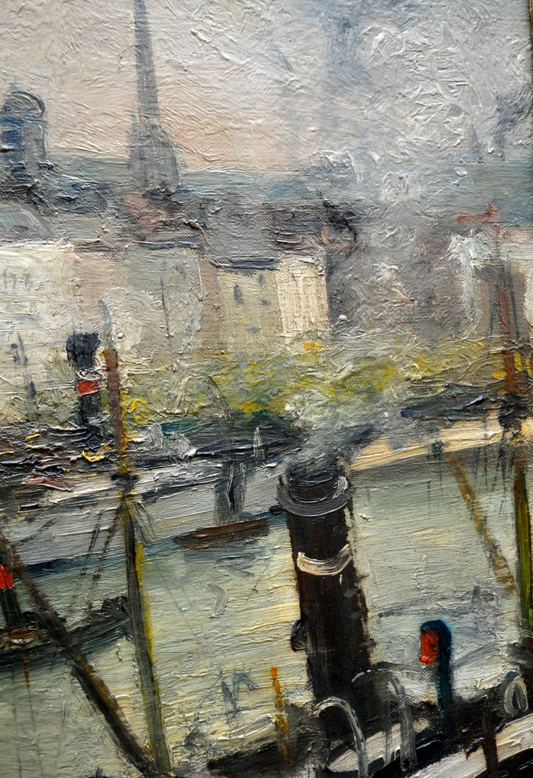 """Painted Impressionist Paiting titled """"La Seine a Rouen"""" by  French Artist Roger Bertin For Sale"""