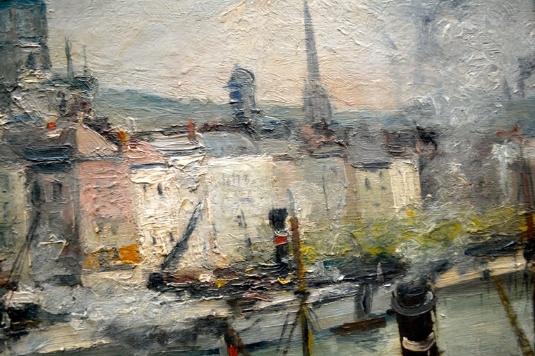 """Impressionist Paiting titled """"La Seine a Rouen"""" by  French Artist Roger Bertin In Excellent Condition For Sale In Vancouver, British Columbia"""