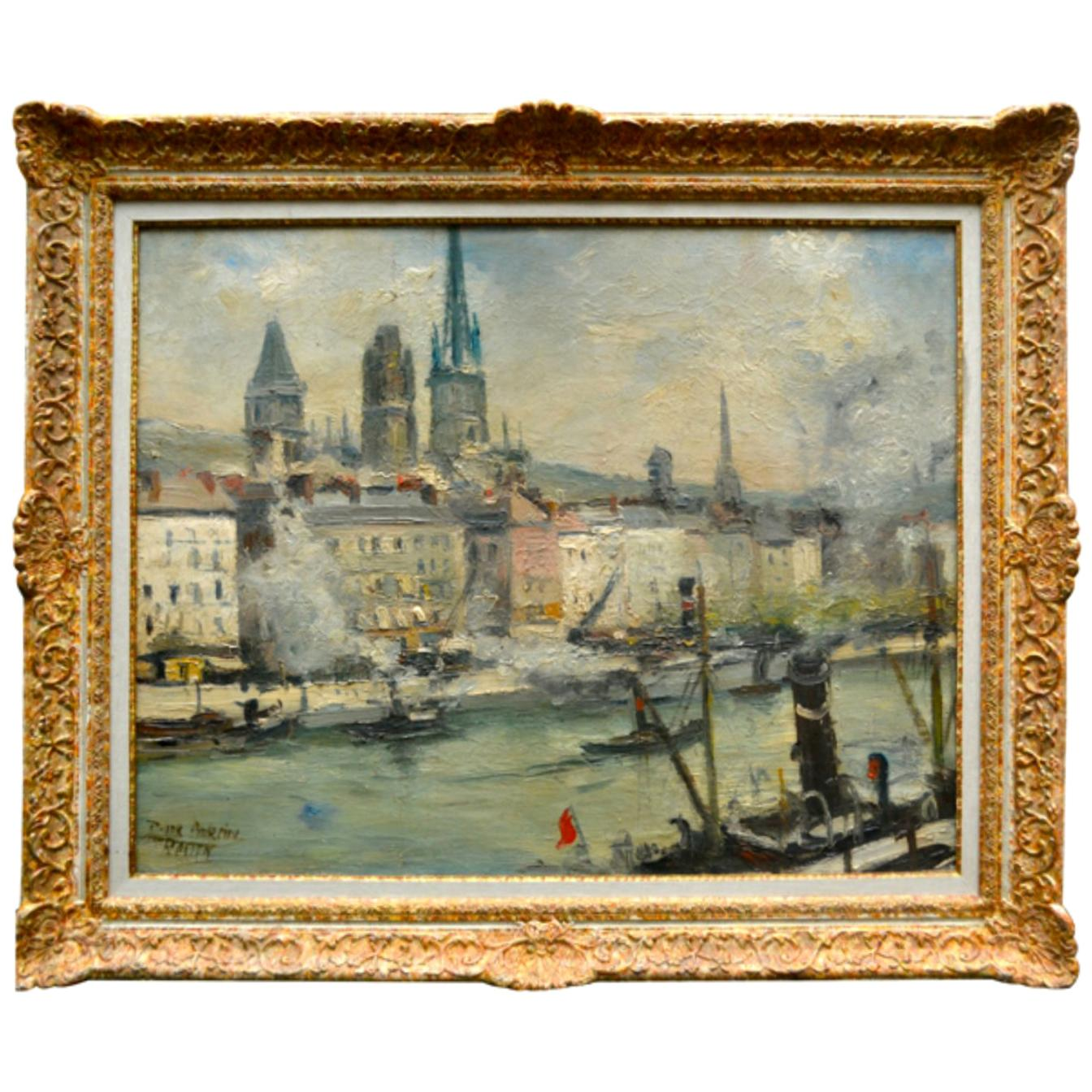 """Impressionist Paiting titled """"La Seine a Rouen"""" by  French Artist Roger Bertin"""