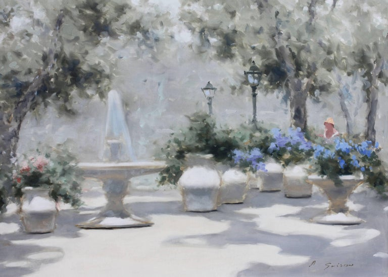 Mid-Century Modern Impressionist Park Scene by Andre Gisson Oil Painting For Sale