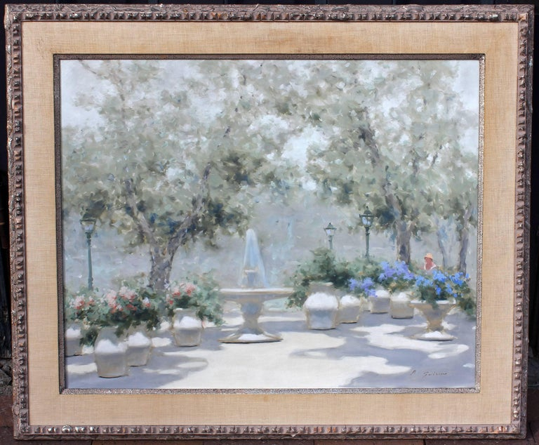 American Impressionist Park Scene by Andre Gisson Oil Painting For Sale