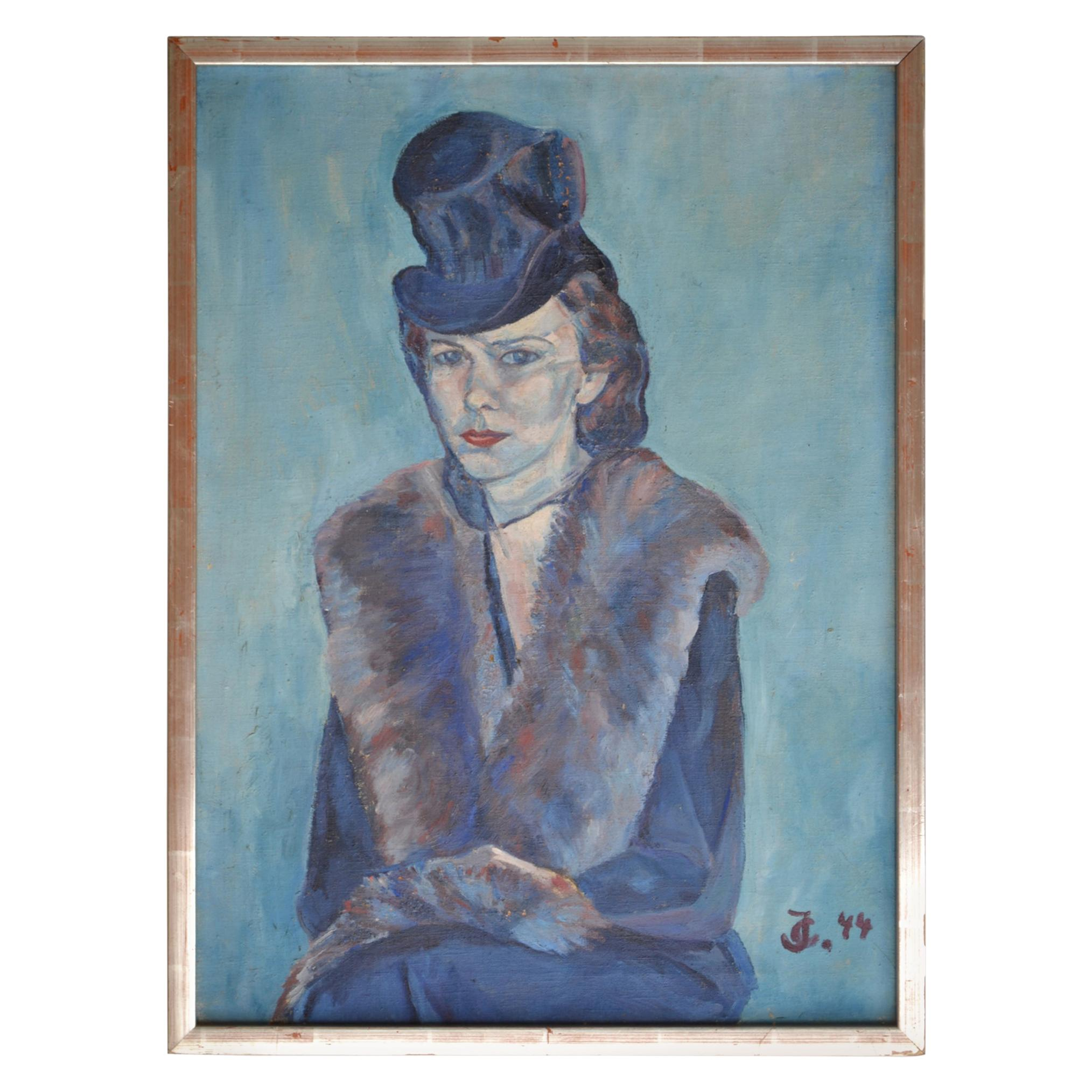 Impressionist Portrait of Women in Blue Oil Painting 1944