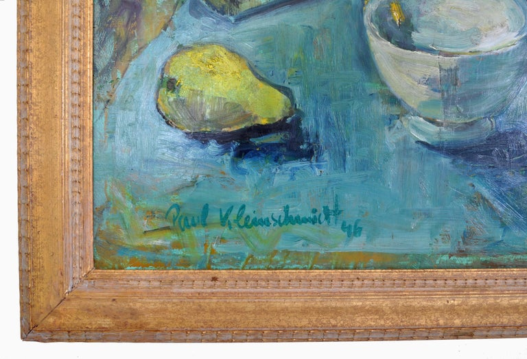 Expressionist German Still Life Oil Painting by Paul Kleinschmidt, 1946 For Sale 7