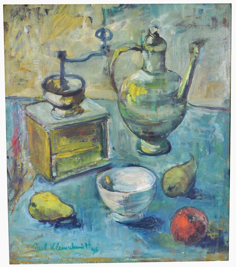 Expressionist still life oil painting by Paul Kleinschmidt (1883-1949), 1946. The painting depicting a still life scene in Kleinschmidt's typical impasto style, showing a coffee grinder and ewer with fruit and bowl to the foreground. The painting