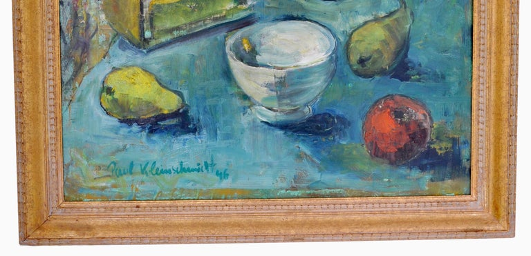 20th Century Expressionist German Still Life Oil Painting by Paul Kleinschmidt, 1946 For Sale