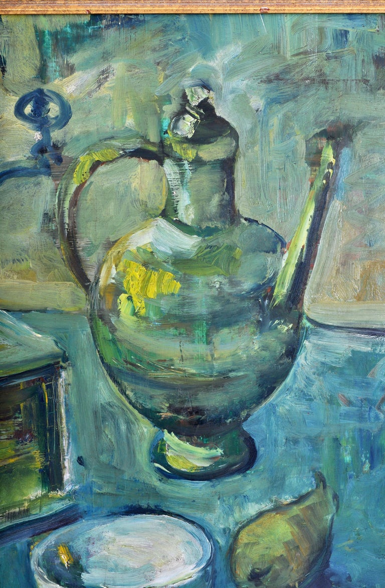 Expressionist German Still Life Oil Painting by Paul Kleinschmidt, 1946 For Sale 1